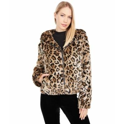 ラブトークン コート アウター レディース Maggy Hooded Faux Fur Short Coat Leopard