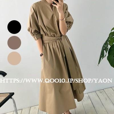 Q334  人気新品   韓国ファッション 半袖 ロングワンピ   ワンピース Vネック   可愛い
