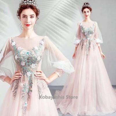 ピンクロングドレスパフスリーブチュール袖姫系ウェディングドレス刺繍高級感挙式結婚式ドレス披露宴編み上げ花嫁ドレス