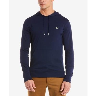 ラコステ Tシャツ トップス メンズ Hoodie Jersey Long Sleeve Tee Shirt with Kangaroo Pocket Navy Blue