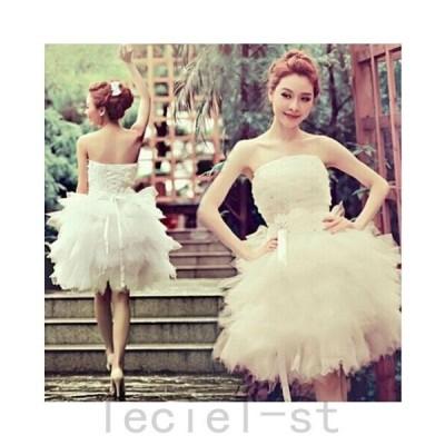 ウェディングドレス ミニドレス 二次会 白 ウエディング 花嫁 結婚式 披露宴フォマールドレスショート丈 背中 編み上げ ブライズメイド服