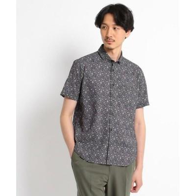 TAKEO KIKUCHI/タケオキクチ 【Sサイズ~】フラワー千鳥プリント シアサッカーシャツ ブラック(119) 03(L)