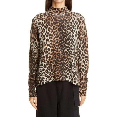 ガニー GANNI レディース ニット・セーター トップス Leopard Print Merino Wool Blend Sweater Leopard