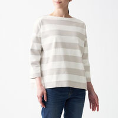 良品計画無印良品 太番手天竺編みボートネック七分袖Tシャツ 無地 ボーダー 婦人 XS~S ライトグレーストライプ 良品計画