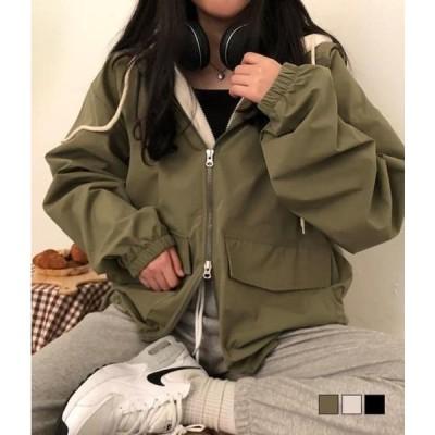 gifteabox レディース ジップアップ Boxy Two-Way Zipper Wild Hooded Jacket