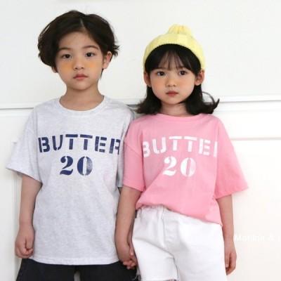 Marilda & Lee バターナンバープリントTシャツ-ホワイトグレー-5/90cm