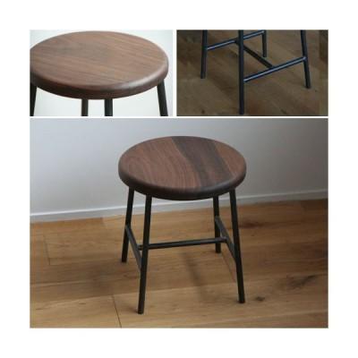 スツール おしゃれ 木製 北欧 アイアン 鉄とブラックウォルナット材Sサイズ(丸)アンティーク 丸椅子 カウンターチェアー ヴィンテージ 日本製