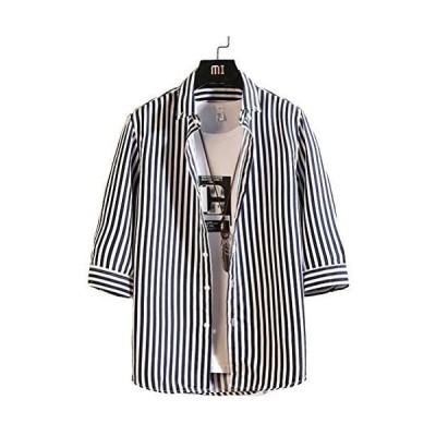 [アスペルシオ] 七分丈 シャツ メンズ 7分袖 七分袖 7部丈 tシャツ スリーブ 袖あり そであり ユッタリ ワイドカラー プリント ポ