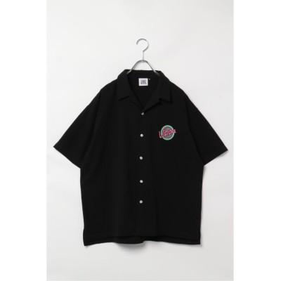 【ヴァンスエクスチェンジ】 VISION サークルロゴ刺繍開襟シャツ メンズ ブラック M VENCE EXCHANGE