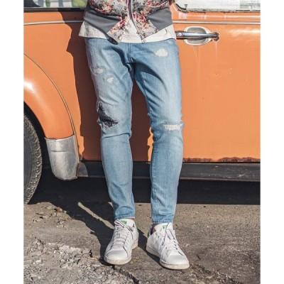 パンツ デニム ジーンズ mp8635-12oz Stretch Damage Denim Tapered Pants テーパードパンツ
