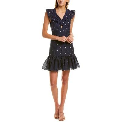 レベッカテイラー ワンピース トップス レディース Rebecca Taylor Metallic Clip Silk-Blend A-Line Dress navy combo
