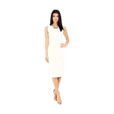 ドレス ジェシカシンプソン Jessica Simpson レディース Scuba Midi ドレス W/ Embellished Neck Trim Ivory