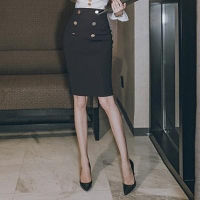 飾りボタン 可愛い フロントボタン シンプル タイト ハイウエスト ミディアム丈 スカート 無地 膝丈 足長効果