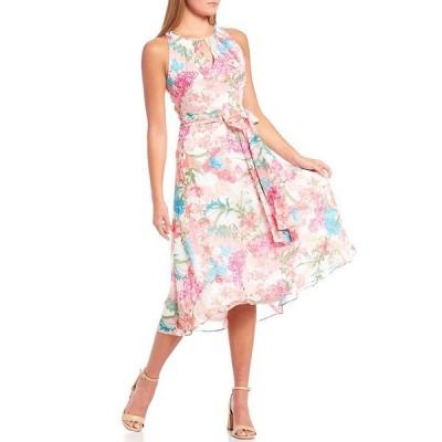 レスリー フェイ レディース ワンピース トップス Floral Chiffon Sleeveless Keyhole Neck Belted Midi Dress White/Multi