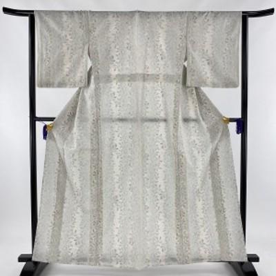 紬 美品 秀品 実 葉 灰色 単衣 身丈161.5cm 裄丈63cm S 正絹 中古