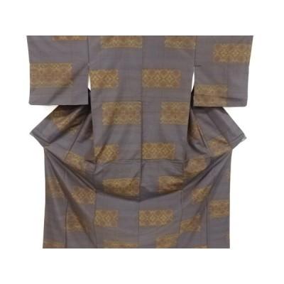 宗sou 色紙に花菱模様織り出し本場泥大島紬着物【リサイクル】【着】