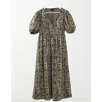 エイソス レディース ワンピース トップス ASOS DESIGN wrap front midi smock dress with short puff sleeve in snake print