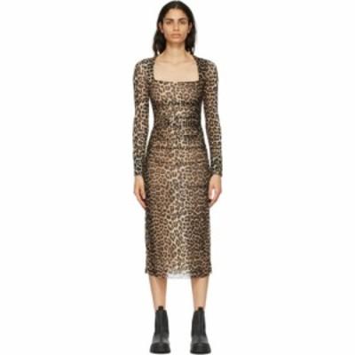 ガニー GANNI レディース ワンピース ワンピース・ドレス Brown and Black Mesh Printed Dress Leopard