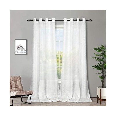 Melodieux White Semi Sheer Curtains 84 Inches Long for Small Windows Living Room Bedroom Linen Look Rustic Grommet Voile Drapes, 42 x 84 Inc