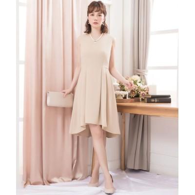 【ドレス スター】 レーススカート付きアーチイレヘム3WAYノースリーブワンピース レディース ベージュ Lサイズ DRESS STAR