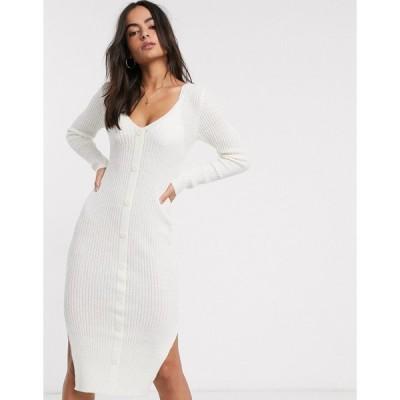 エイソス ミディドレス レディース ASOS DESIGN v neck button through knit maxi dress in natural look yarn エイソス ASOS