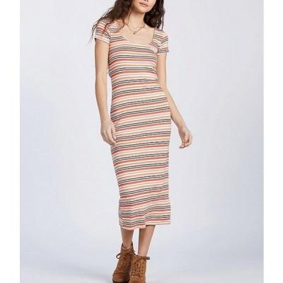 ビラボン レディース ワンピース トップス Mid Day Short-Sleeve Striped Midi Dress