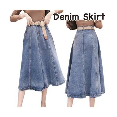 スカート デニム ロング丈 マキシ丈 大きいサイズ Aライン カジュアル かわいい きれいめ ハイウエスト ブルー