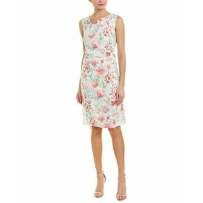 Sara  ファッション ドレス Sara Campbell Linen-Blend Sheath Dress