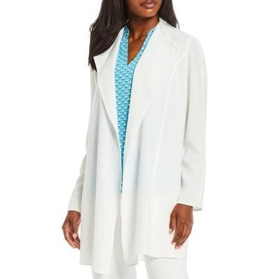アンクライン レディース ジャケット&ブルゾン アウター Long Sleeve Drape Front Open Melange Jacket NYC White