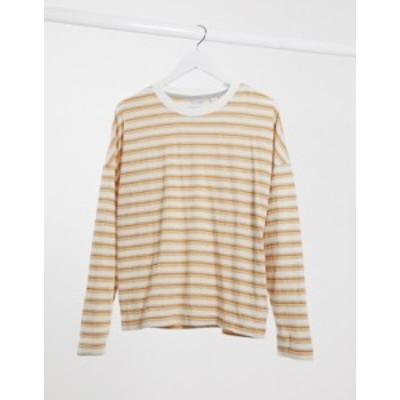 クイックシルバー レディース シャツ トップス Quiksilver Fluids striped long sleeved t-shirt in orange Vibrant orange strip