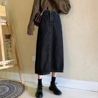 レディース ファッション 秋 冬 スカート ミディアム丈 上品 トレンド デニム シンプル カジュアル 大人 脚長効果 おしゃれ