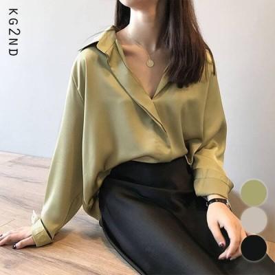 シャツ ヴィンテー ジサテンス キッパーシャツ 全3色  ファッション レディースアパレル トップス