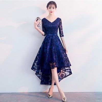 パーティードレス 20代 30代 韓国 結婚式 二次会 お呼ばれ Vネック フィッシュテール レース エレガント 刺繍 ワンピース フレア ウエストリボン