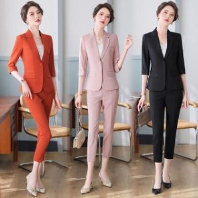 ブラック フォーマル パンツスーツ レディース 2点セット 大きいサイズ 通勤 OL オフィススーツ ピンク 30代 40代 セレモニースーツ