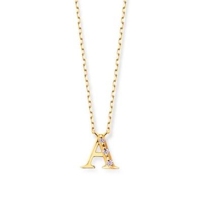 ネックレス 【ESTELLE/エステール】K18 イエローゴールド ダイヤモンド イニシャル ネックレス(A)