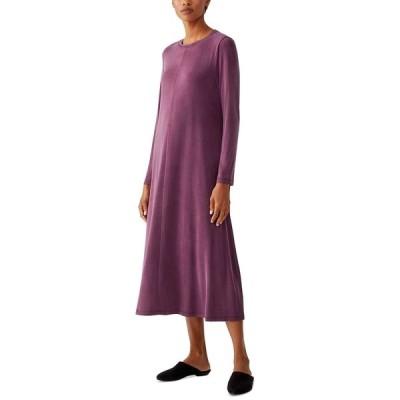 エイリーンフィッシャー ワンピース トップス レディース Crewneck Long Sleeve Dress Purple