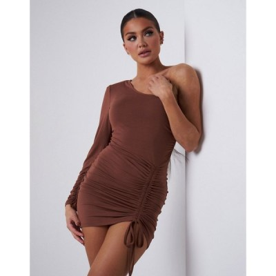アリア Aria Cove レディース ワンピース ミニ丈 ワンピース・ドレス One Long Sleeve Ruched Side Detail Mini Dress In Chocolate チョコレート