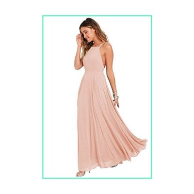 Halter Chiffon Plus Size Bridesmaid Dress Long Backless Formal Evening Party Gown Size 18 Blush Pink並行輸入品