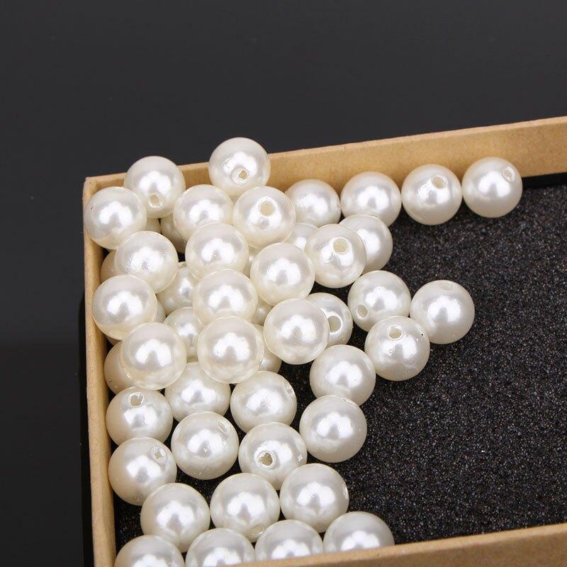 手工材料3-40mm雙孔圓珠子串珠飾品配件abs仿珍珠散珠