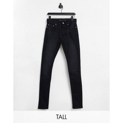 ブレーブソウル メンズ デニムパンツ ボトムス Brave Soul Tall ultimate skinny jeans in charcoal
