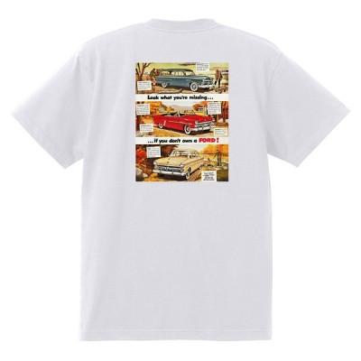 アドバタイジング フォード Tシャツ 白 1027 黒地へ変更可 1952 サンライナー ビクトリア f100 ランチワゴン アメ車 ロカビリー