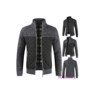 コート メンズ キルティングコート スタンドカラー ジャケット アウター ポケットあり ニット ニットウエア ニットジャケット 無地 長袖 厚手 保