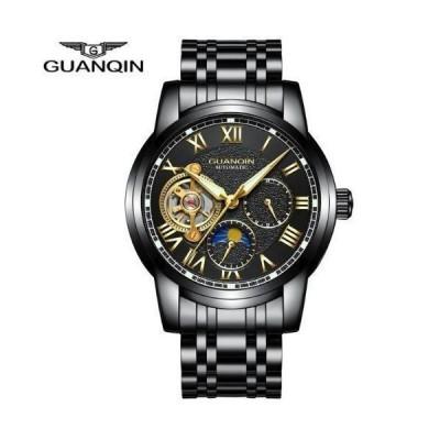メンズ腕時計 アナログ腕時計 自動巻き 防水 スポーツ ブラックスチール
