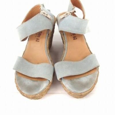 【中古】Karen Lipps 靴 シューズ サンダル ストラップ ウエッジソール ジップ 36 ライトブルー /FT1 レディース