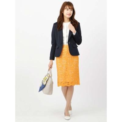 【Littlechic】フラワーコードレースタイトスカート/通年用/マスタード(色柄コード:HK)