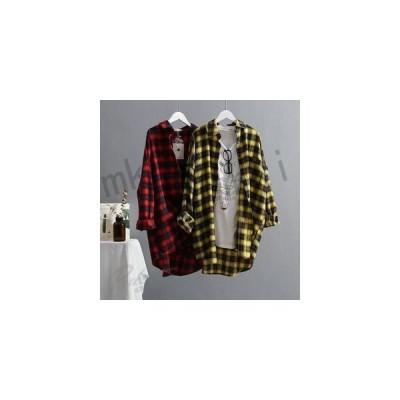 ブラウスレディース春秋長袖韓国風通勤綿チェックきれいめおしゃれチェックシャツ彼氏シャツ大きいサイズ2色