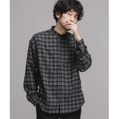 FINE FLANNEL バンドカラーチェックシャツ