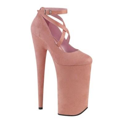 プリーザー サンダル シューズ レディース Beyond 087FS Ankle Strap Platform Heel (Women's) Baby Pink/Baby Pink Faux Suede