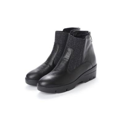 ヌエール nouer PECHINCHAR ラメゴア厚底ショートブーツ (ブラック)
