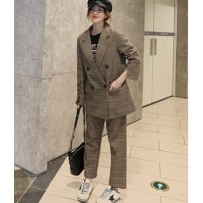 送料無料 韓国 ファッション レディース セットアップ パンツスーツ 大きいサイズ チェック ジャケット パンツ ワイドパンツ フォーマル